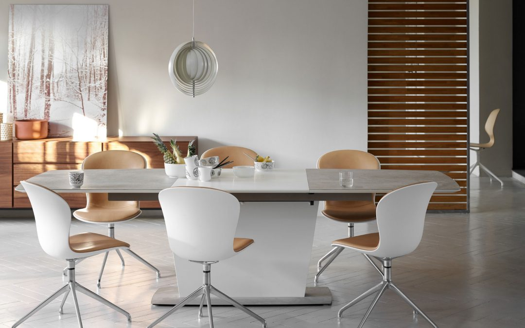 Milano dining table with ceramic top and Adelaide dining chairs by BoConcept