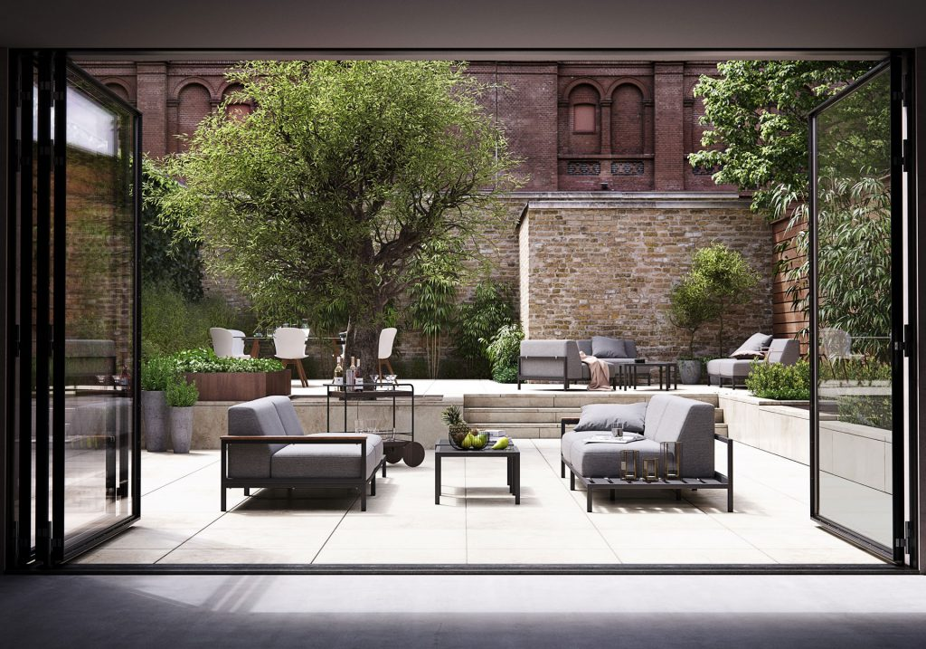 Outdoor grey sofas