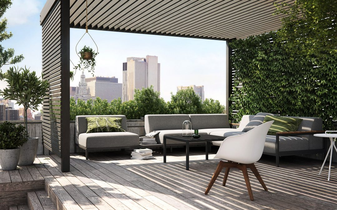 Outdoor grey sofa with white chair