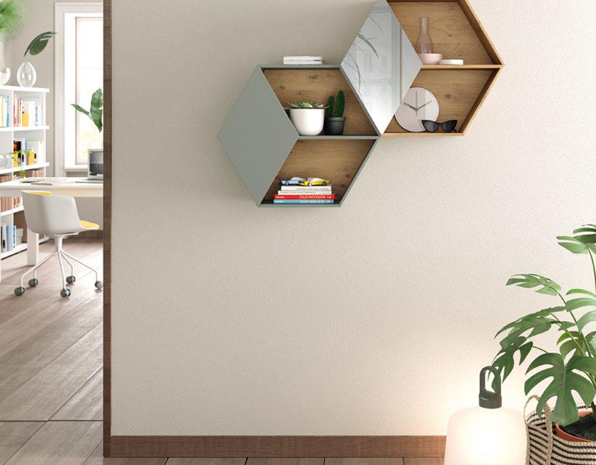Hallway grey and wood shelves