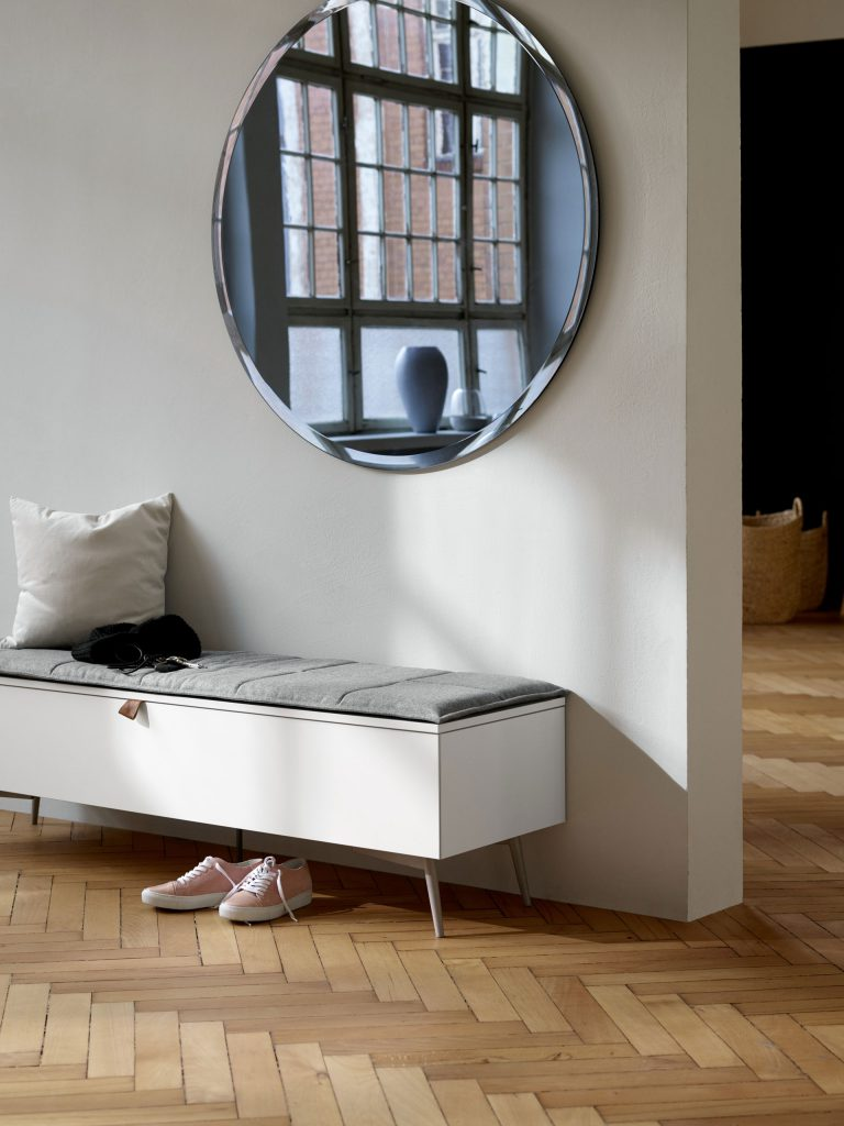 Lugano bench with storage and Tone mirror by BoConcept