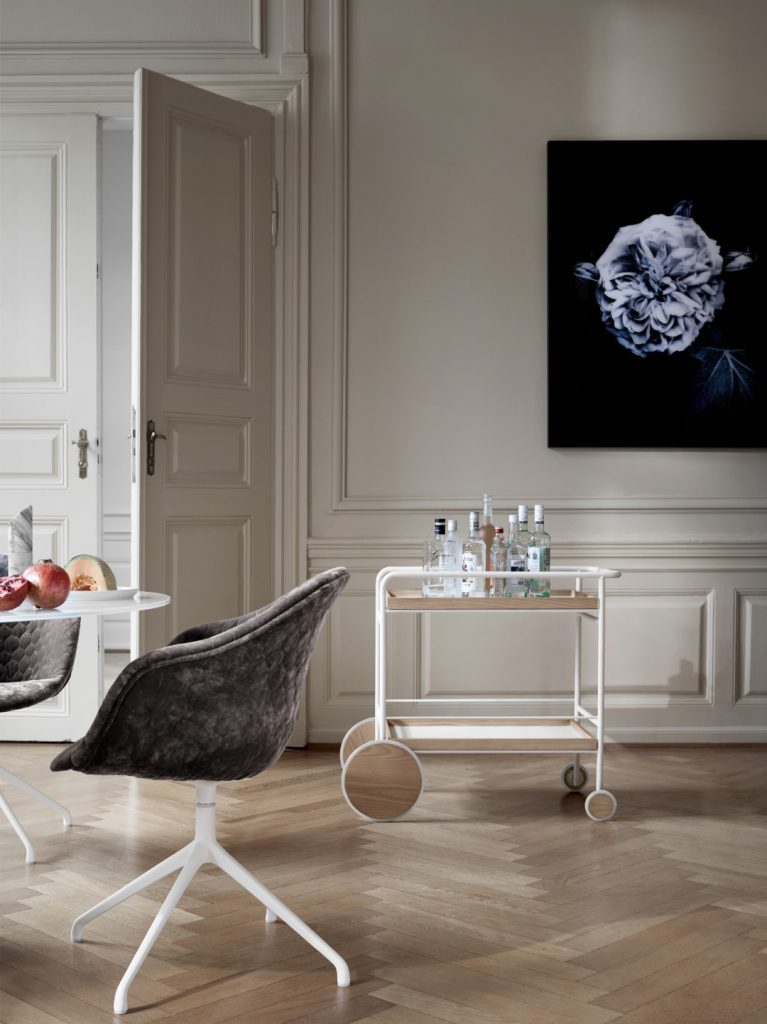 Adelaide chair in quilted velvet and trolley by BoConcept