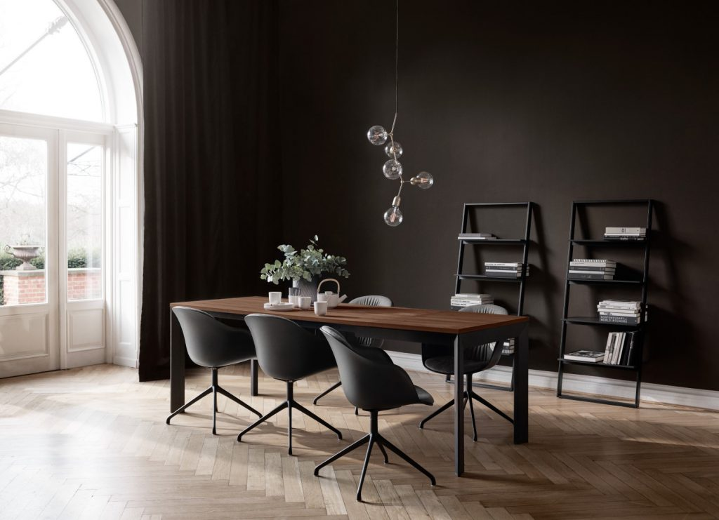 Lyon table, Adelaide chairs, Bordeaux rack, lighting and accessories by BoConcept