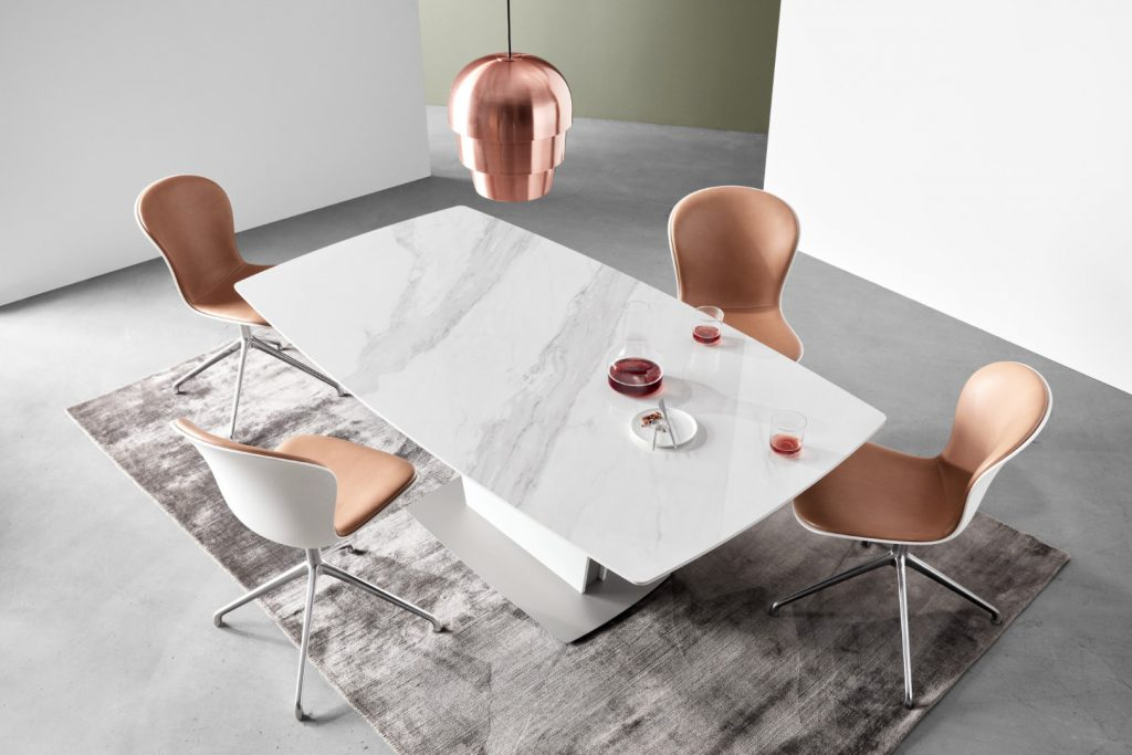 Milano table in marble look ceramic and Adelaide chairs